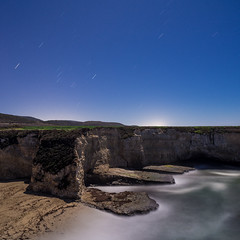 Mixed greens (Nocturnal Bob) Tags: ocean california longexposure moon green beach night garden square stars sand rocks waves pacific cove farm moonlight davenport d800e