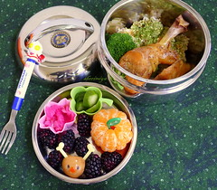 Rudolph the Quail Egg Christmas Chicken and Rice Bento (sherimiya ) Tags: christmas school chicken reindeer lunch kid healthy rice sheri egg sauerkraut broccoli delicious homemade meal bento rudolph blackberries obento furikake quailegg pickledcucumbers sherimiya