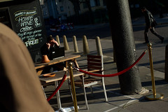 (ziemowit.maj) Tags: street shadow sunlight man london pub angle chairs laptop pillar lunchtime barbican suit tables bollards housewine enclosedarea