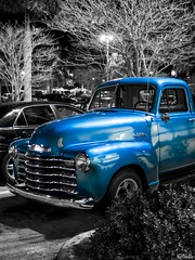 Blue Xmas (C Rankin) Tags: xmas blue classic monochrome car night truck vintage prime pentax parking pickup chevy q 1953 mirrorless