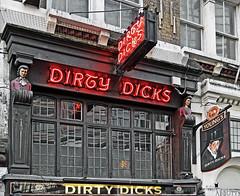 Dirty Dicks Pub Liverpool Street (Fuji XF1) (markdbaynham) Tags: street city uk urban london sign liverpool buildings lights pub neon fuji capital dirty drinks metropolis pint dicks youngs xf1