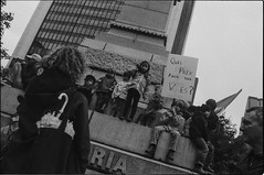001-006-5 (Ari and the bear) Tags: street bw film analog montreal canona1 kentmere400 occuponsmontreal occupymontreal arianedepalacio