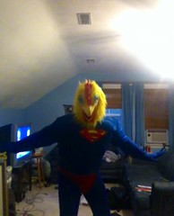Super Chicken 4 (ChickenJay) Tags: blue bird chicken yellow costume transformation mask beak suit hen birdbrain toony zentai