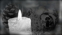 Frohe Weihnachten (Sibilus_Basilea) Tags: christmas white black tree monochrome collage weihnachten season happy candle seasons kerze greetings monochrom bauble weiss schwarz christbaumkugel weihnacht tannenzapfen kugel frohe glückwünsche wünsche christbaum
