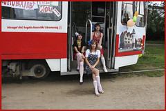 Girls) (lozhka13) Tags: city girls red summer colors girl beautiful fashion trash russia tram haha vest kaliningrad russland  citycentr  streetstyle merryment kenigsberg
