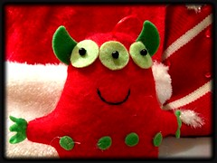 Xmas Monster (welovethedark) Tags: red holiday green monster critter christmasornament iphone christmasmonster iphonephoto iphonecamera iphonecameraapps