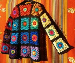 Granny Square Sweater - The Ultimate Circles To Squares Design In 32 Colors Of The Rainbow (babukatorium) Tags: pink blue red orange black color green art lana wool fashion rose yellow vintage circle square sweater rainbow colorful warm purple recycled handmade mosaic turquoise teal burgundy oneofakind coat crochet moda peach violet style shades retro shade button gradient hippie vest patchwork psychedelic arcobaleno cardigan bohemian multicolor whimsical darkblue haken hkeln emeraldgreen croch grannysquares ganchillo babypink royalblue fuxia uncinetto fattoamano  tii horgolt babukatorium