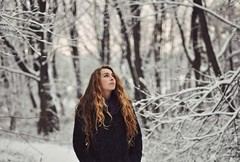 Ill part with my heart for you (Gracie Walton) Tags: blue trees winter snow cold fall frost forrest coat first