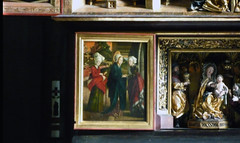 Michael Pacher, Sankt Wolfgang Altarpiece, Visitation (Predella Panel)