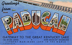 Greetings from Paducah, Kentucky, Gateway to the Great Kentucky Lake, Largest Man-Made Lake in the World - Large Letter Postcard (Shook Photos) Tags: linen dam kentucky postcard postcards greetings paducah linenpostcard bigletter kentuckylake paducahkentucky largeletter largeletterpostcard linenpostcards largeletterpostcards bigletterpostcard bigletterpostcards