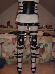 Full Back and Leg Braces Locked at the Hips & Knees (KAFOmaker) Tags: leather metal fetish shoe back high shoes legs braces sandals leg bondage heel cuff brace straps sandal cuffs restraints bracing restraint orthopedic cuffed strapped braced strapping backhkafowithextrastrappadsandheels