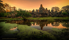 "Bayon Temple Reflection at Sunrise (Keith ""Captain Photo"" Cuddeback) Tags: reflection sunrise asia cambodia buddha angkorthom bayontemple"