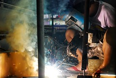 The welder (malubs photography) Tags: portrait people photography philippines jeepney sarao environmentalportrait christianmalubag malubsphotography