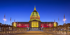 Red & Gold City Hall San Francisco (davidyuweb) Tags: sanfrancisco california city red usa season gold hall san francisco post 49ers playoffs sfbay sfist postseason