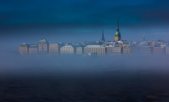Gamla Stan mistscape (snowyturner) Tags: morning sea mist ice waterfront sweden stockholm harbour spires gamlastan skeppsholmen floes
