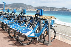 Cote D'Azure in azure (smile-a-while) Tags: blue france nice transport bicycles promenade cotedazure southoffrance2012