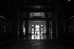 (cherco) Tags: alone solitario lonely light luz silhouette silueta reflexions reflejos solitary shadow shadows aloner blackandwhite blancoynegro composition composicion columnas lights square door puerta girl woman mujer canoneos5diii canon architecture arquitectura