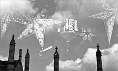 (frscspd) Tags: 27470031 20160531 pentax pentaxmx mx takumar takumar58mm 58mm ilford film filmgrain ilfordxp2400bw ilfordxp2 cambridge kingsparade kingscollege nomads window reflection lantern lanterns paperlanterns