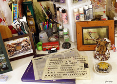 My desk. (Gillian Floyd Photography) Tags: desk letraset alphabet letters