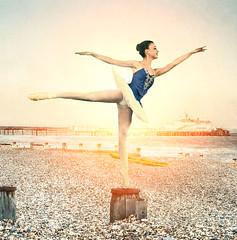 Dance at Dawn (Peter Gurr Creative) Tags: dance seafront seaside sea light dslr sky pebbles eastbourne pier dawn sun sunrise dancer ballet beach