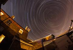 Sucked Into The Vortex (Rob Pitt) Tags: startrails stars fisheye wirral roof tops cheshire samyang night photography longexposure