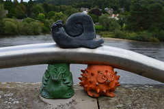 Perth on a gloomy day (caitlinsteewart) Tags: river tay perth perthshire snail owl decorations ornaments orange blue green water