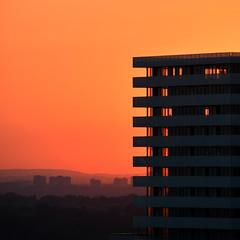 urban sunset (Rising Damp) Tags: square sunset urban city evening light gold orange summer layers cityscape landscape yellow purple toronto downtown