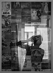 Italian Operas Self Portrait in Rome (futurepics) Tags: rome italy canon 30mm eos 50d bw monocrome music italianarias selfportrait reflection abstract art creativ text typography graphic geometric poster italianoperas 100v10f beautiful camera confident elegant europe european gallery indoor interior italian people photo portrait self stylish glass light texture pattern sandwich mix mergin frame wow oldschool vintage bwartaward