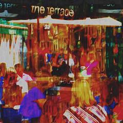 Lunch on the Terrace (Lemon~art) Tags: lunch terrace eat eatout friends colour texture manipulation street cafe summer vivid outdoor crowds bustle chatter happy