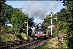 Tornado departs Bewdley (Rob-33) Tags: tornado 60163 pacificlocomotive a1steamlocomotivetrust a1classloco svr severnvalleyrailway steamrailway steampreservation steamlocomotive bewdleystation pentaxk3 tamron2875mmf28 britishrail br
