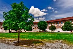 The great lawn at Vigevano Castle (Marco Trovò) Tags: marcotrovò hdr canoneos5d vigevano pavia italia italy city città strade street case house palazzi building castellosforzesco sforzacastle