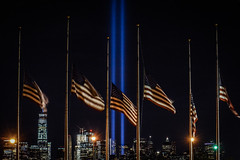 Remember (trs125) Tags: 911 nineeleven tributeinlight libertystatepark americanflags anniversary 15years redwhiteandblue america neverforget