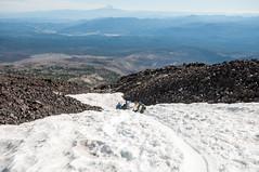 Glissading near the bottom (LucienTj) Tags: mountaineering hike rocks steep slide glissade mounthood hiking slope mountadams mountain glacier volcano wilderness snow