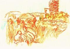 PROYECTO 132-54 (GARGABLE) Tags: angelbeltrn apuntes sketch lpicesdecolores drawings proyecto 132 64 todo varios variado dibujos gargable playa gente siesta sanjuan