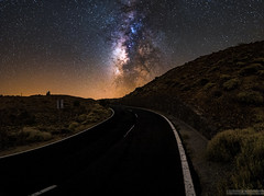 Galactic Road (Stefan Liebermann) Tags: road strase night nacht street tenerife teneriffa spain spanien nationalpark teide travel reisen astronomy astronomie cosmic space weltraum wste desert panorama panoramic langzeitbelichtung longexposure milkyway milchstrase galaxy galaxie landscape landschaft nature natur sky himmel nightscape nachthimmel licht light lights mountain berge dark