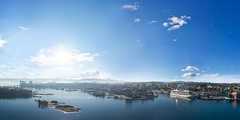 One early morning in Stavanger city, Norway (B.AA.S.) Tags: stavanger rogaland aerialview aerial panorama city cruiseship water morning sun sunlight september norway norge sea sj havn harbour earlymorning bridge slyst highangleview 2016 boat boats citylife autumn phantom4 drone