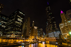 Chicago River (Empty Quarter) Tags: longexposure bridge pink chicago building london tower night river illinois nikon downtown loop il tokina wrigley trump f28 guarantee 1116 d7000
