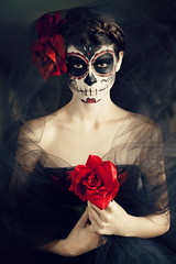 Day of the Dead (AnnuskA  - AnnA Theodora) Tags: red roses portrait beauty dark hair dayofthedead skull moody artistic makeup hairdo style atmosphere catrina calavera fridakhalo dadelosmuertos kindof