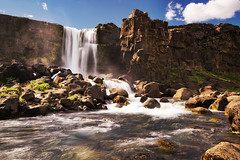 xarrfoss II (Dennis_F) Tags: park summer sky cloud nature water colors beautiful river landscape island waterfall iceland stream warm wasser europa europe day wasserfall stones sommer tag natur north norden himmel wolke wolken steine national polar blau fluss landschaft isle thingvellir ingvellir farben vulkan vulcanic xarrfoss islandic oxararfoss