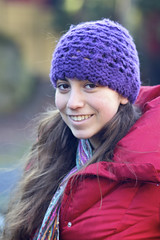 Sammy (Sarah Sonny) Tags: winter portrait woman cold college girl smile hat hair outside hipster naturallight teen cornell ithaca beanie gorges brownhair purplebeanie