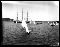 Three masted full rigged ship at anchor, Sydney Harbour (Australian National Maritime Museum on The Commons) Tags: boats sailing ship harbour sydney cutter sydneyharbour sailingboat glassplatenegative sailingvessel harbourscenes williamhall williamhallcollection