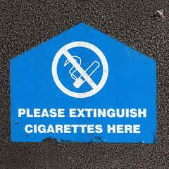 PLEASE EXTINGUISH CIGARETTES HERE (Leo Reynolds) Tags: sign canon eos 7d f80 iso1250 signsafety 170mm signno 0004sec hpexif signnosmoking signcirclebar xleol30x