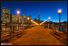 Into the City (Aaron M Photo) Tags: sf sanfrancisco california wood city sunset holiday nature water lamp beauty buildings bench landscape lights bay pier wooden nikon cityscape pacificocean seven