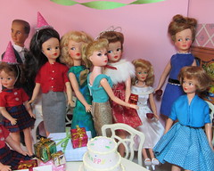 (8) Tammy's Birthday Party (Foxy Belle) Tags: birthday family party ted eye scale up cake misty vintage pepper twins doll play furniture background room father mother barbie tammy center presents dining 16 eyed growing ideal miss suzette diorama sindy uneeda