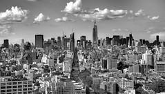 Midtown Manhattan New York view from 31st Floor Bedroom Trump Soho Hotel Black and White (Explored!) (Paul in Leeds) Tags: new york city usa white black monochrome skyline america mono skyscrapers manhattan sony alpha greyscale a900 blackwhitephotos
