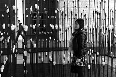 Tourist lost in a light labyrinth sculpture (pedrosimoes7) Tags: blackandwhite bw sculpture woman art portugal girl blackwhite lisboa lisbon candid tourist creativecommons icapture centroculturaldebelem blackandwhiteonly portugalevent
