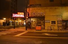 Cal's Bar (chicagogeek) Tags: chicago building nightshot wells 1940s vanburen neonsign liquors gentrification southloop cornerstore divebar