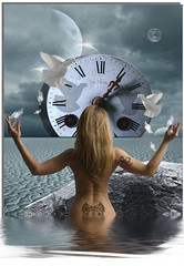 """""""When Tomorrow Comes........."""" (ezekial) Tags: she fall clock water hope graphics waiting heart religion praying surreal fallenangel maybe computerart illusions dying clocks eulogy endoftheworld theworld heartbreakers thewayout stoptheworld firsttheearth girlwithtattoos waitingtodie colorsofthesoul truthillusion"""