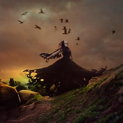 magic & sorcery (brookeshaden) Tags: storm birds witch magic flight hillside fineartphotography blackdress sorcery conceptualphotography brookeshaden