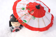 """Oh dear, it might start snowing again!"" (**Alice**) Tags: winter snow macro umbrella doll bokeh romania      70mm  romnia zpad iarn  kimmidoll braov sony450 umbrel ppu"